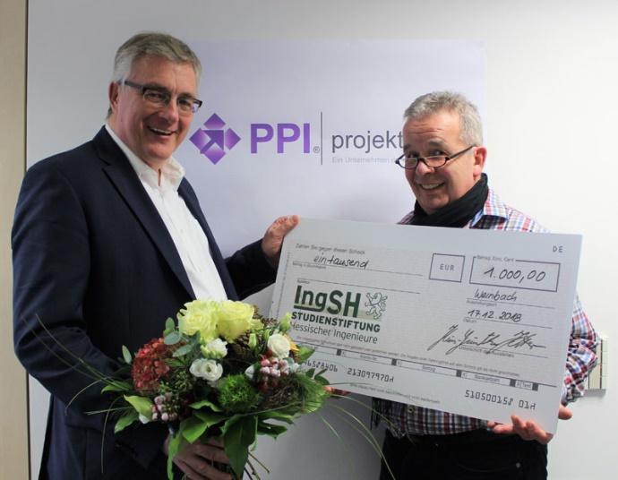 Spendenübergabe an die die Studienstiftung Hessischer Ingenieure 2018